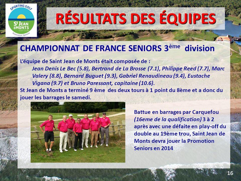 CHAMPIONNAT DE FRANCE SENIORS 3 ème division Léquipe de Saint Jean de Monts était composée de : Jean Denis Le Bec (5.8), Bertrand de La Brosse (7.1),