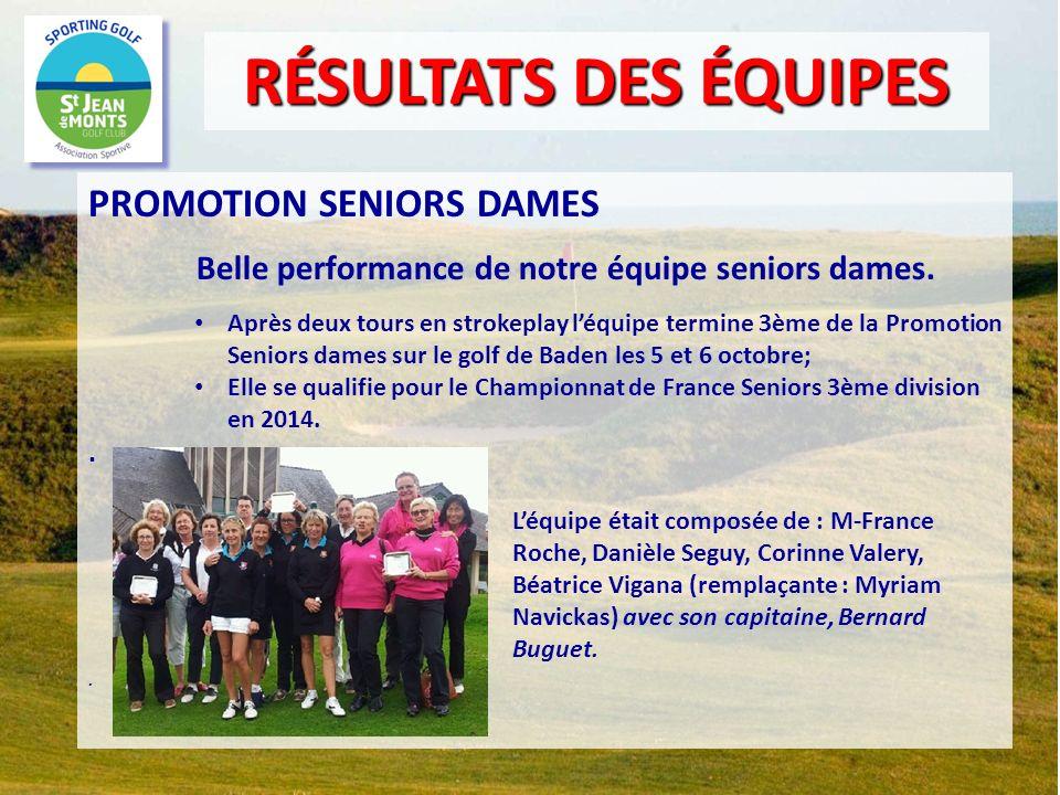 PROMOTION SENIORS DAMES Belle performance de notre équipe seniors dames. Après deux tours en strokeplay léquipe termine 3ème de la Promotion Seniors d