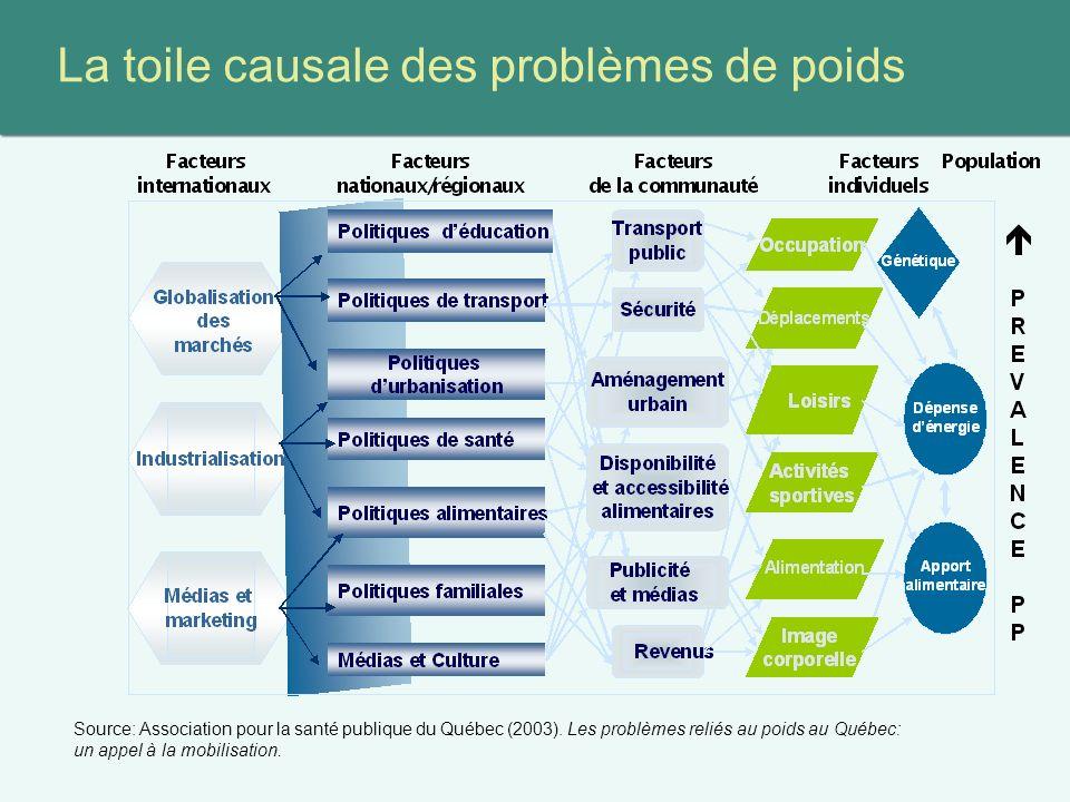 La toile causale des problèmes de poids Source: Association pour la santé publique du Québec (2003).