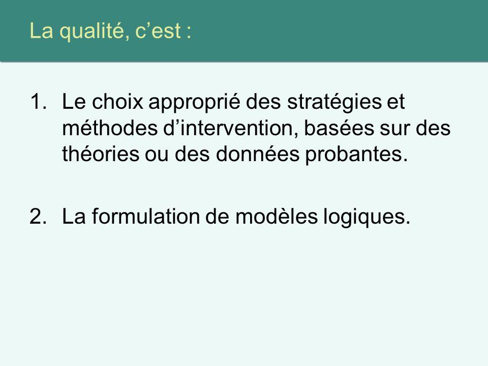 La qualité, cest : 1.Le choix approprié des stratégies et méthodes dintervention, basées sur des théories ou des données probantes.