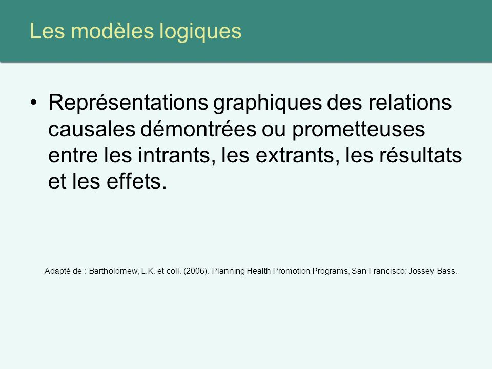 Les modèles logiques Représentations graphiques des relations causales démontrées ou prometteuses entre les intrants, les extrants, les résultats et les effets.