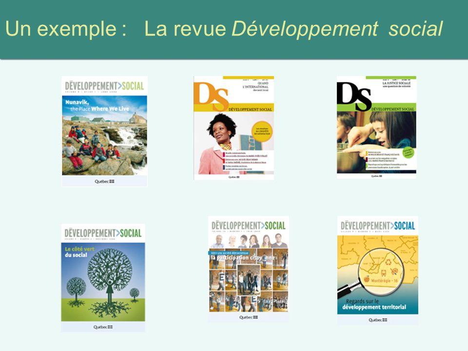 Un exemple : La revue Développement social