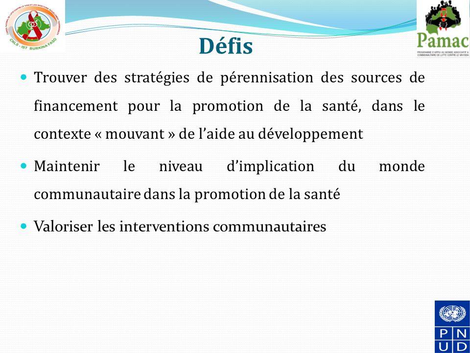 Défis Trouver des stratégies de pérennisation des sources de financement pour la promotion de la santé, dans le contexte « mouvant » de laide au développement Maintenir le niveau dimplication du monde communautaire dans la promotion de la santé Valoriser les interventions communautaires 18