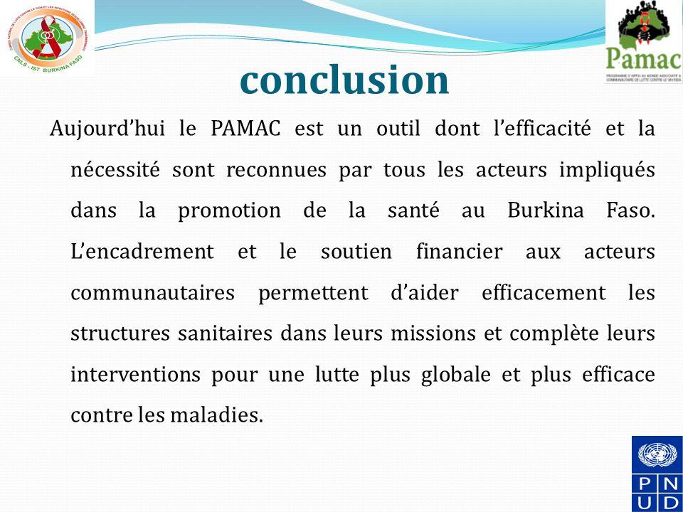 conclusion Aujourdhui le PAMAC est un outil dont lefficacité et la nécessité sont reconnues par tous les acteurs impliqués dans la promotion de la santé au Burkina Faso.