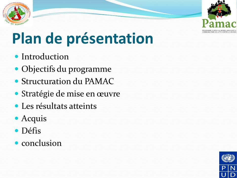 Plan de présentation Introduction Objectifs du programme Structuration du PAMAC Stratégie de mise en œuvre Les résultats atteints Acquis Défis conclusion