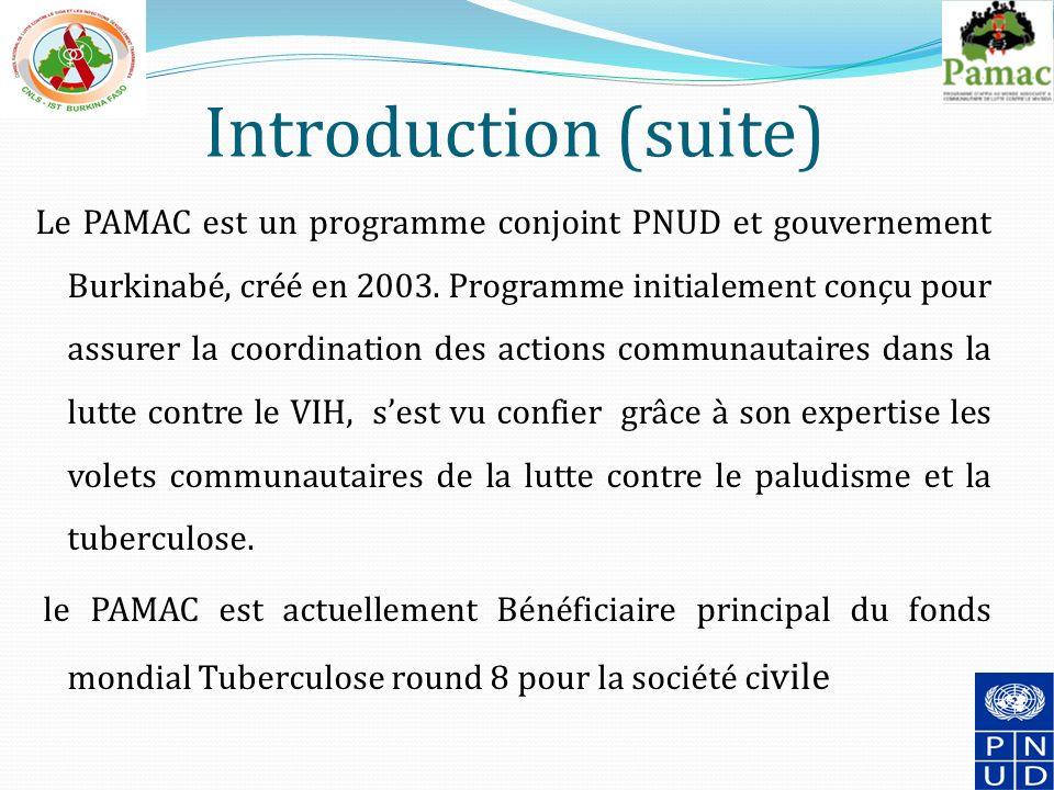 Introduction (suite) Le PAMAC est un programme conjoint PNUD et gouvernement Burkinabé, créé en 2003.