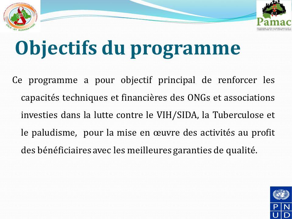 Objectifs du programme Ce programme a pour objectif principal de renforcer les capacités techniques et financières des ONGs et associations investies dans la lutte contre le VIH/SIDA, la Tuberculose et le paludisme, pour la mise en œuvre des activités au profit des bénéficiaires avec les meilleures garanties de qualité.