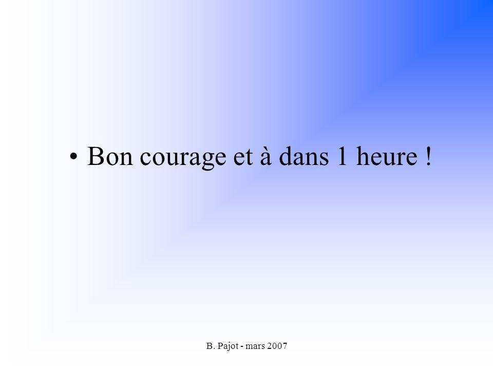 B. Pajot - mars 2007 Bon courage et à dans 1 heure !
