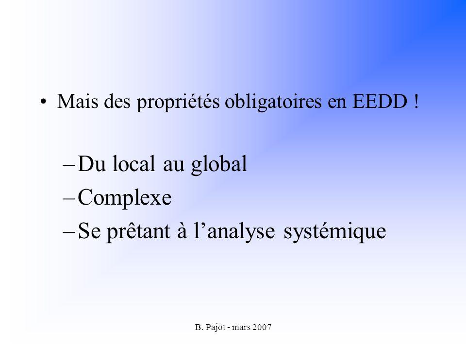 B.Pajot - mars 2007 Mais des propriétés obligatoires en EEDD .