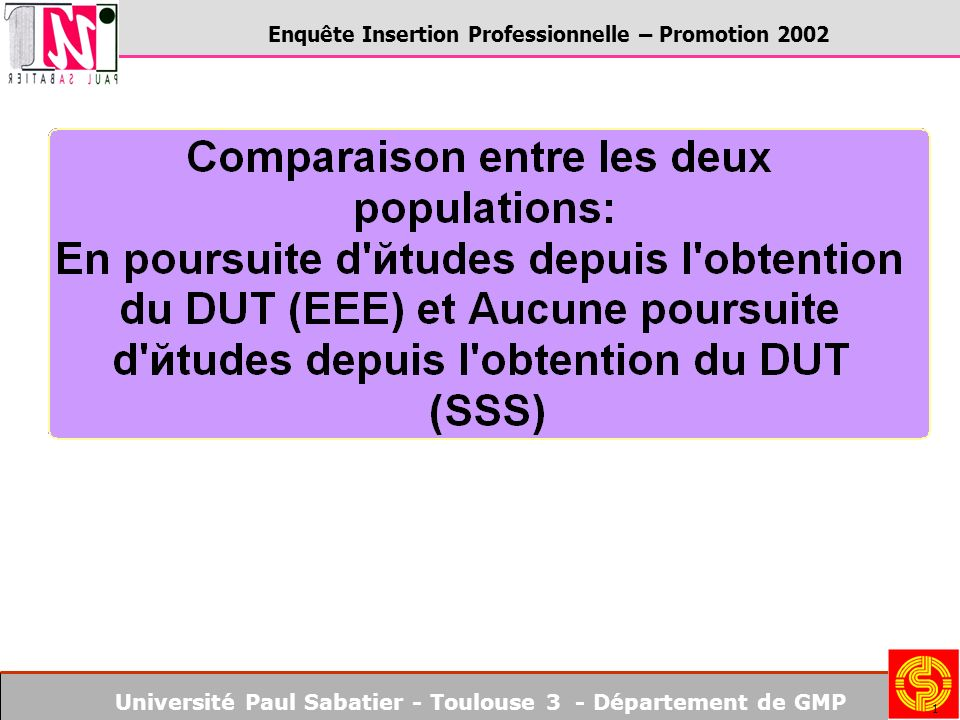 Université Paul Sabatier - Toulouse 3 - Département de GMP Enquête Insertion Professionnelle – Promotion 2002 1
