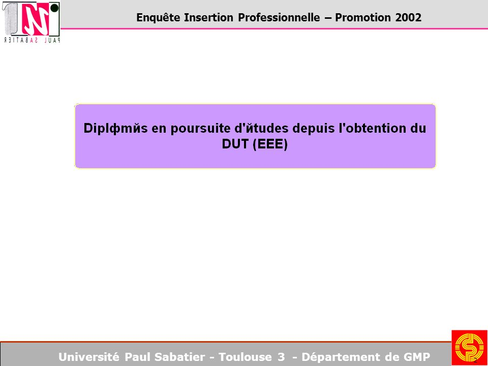 Université Paul Sabatier - Toulouse 3 - Département de GMP Enquête Insertion Professionnelle – Promotion 2002 2
