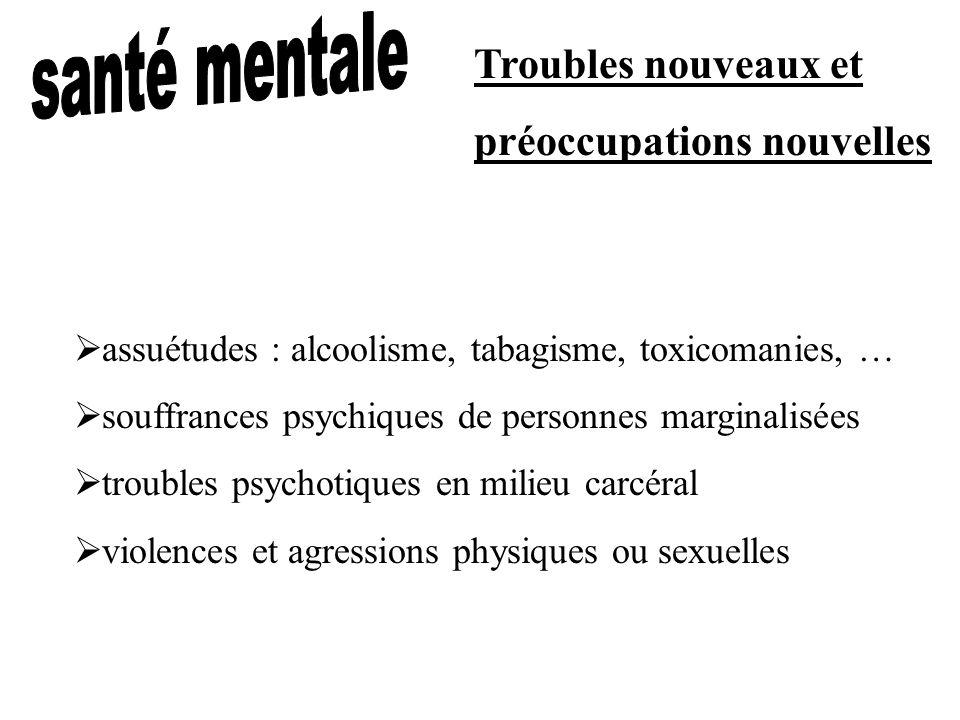 Troubles nouveaux et préoccupations nouvelles assuétudes : alcoolisme, tabagisme, toxicomanies, … souffrances psychiques de personnes marginalisées tr