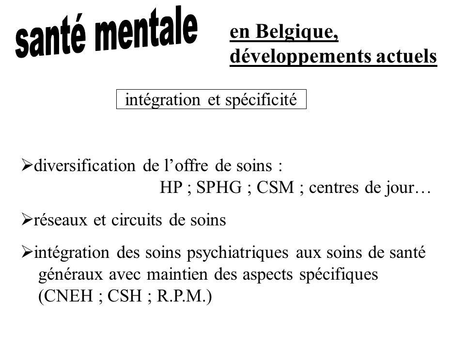 en Belgique, développements actuels diversification de loffre de soins : HP ; SPHG ; CSM ; centres de jour… réseaux et circuits de soins intégration d