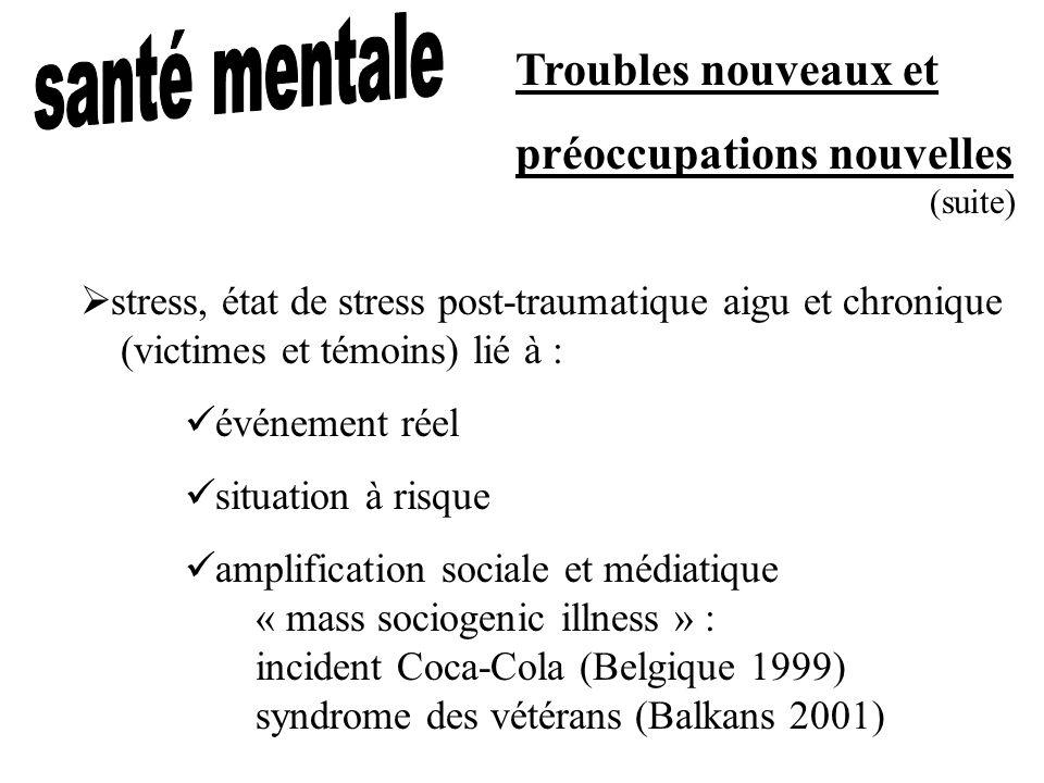 Troubles nouveaux et préoccupations nouvelles stress, état de stress post-traumatique aigu et chronique (victimes et témoins) lié à : événement réel s