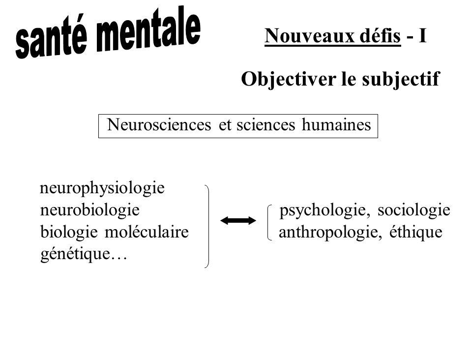Nouveaux défis - I neurophysiologie neurobiologie psychologie, sociologie biologie moléculaire anthropologie, éthique génétique… Objectiver le subjectif Neurosciences et sciences humaines