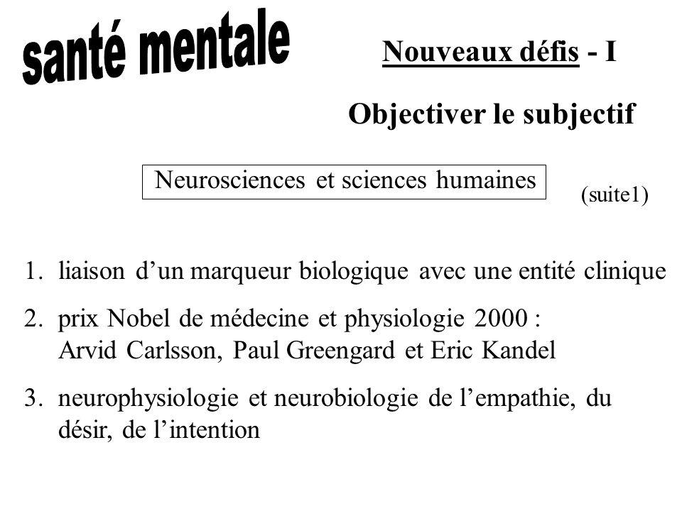 Nouveaux défis - I 1.liaison dun marqueur biologique avec une entité clinique 2.prix Nobel de médecine et physiologie 2000 : Arvid Carlsson, Paul Gree