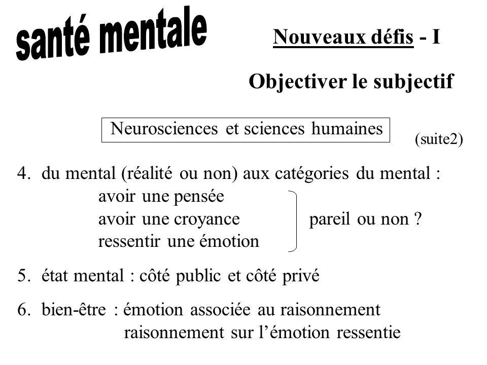 Nouveaux défis - I 4.du mental (réalité ou non) aux catégories du mental : avoir une pensée avoir une croyancepareil ou non ? ressentir une émotion 5.