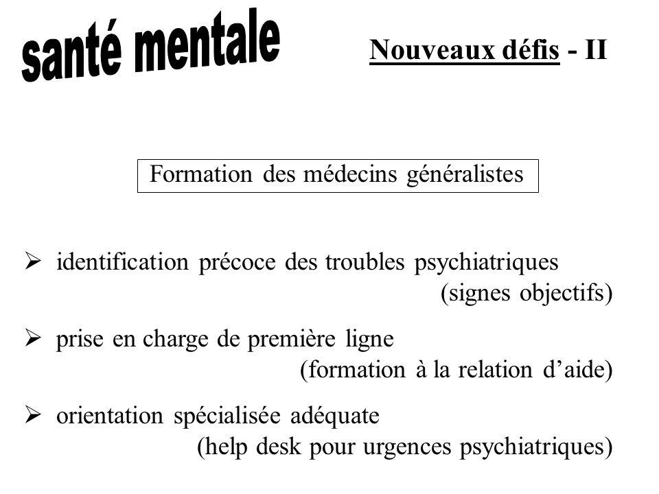 Nouveaux défis - II identification précoce des troubles psychiatriques (signes objectifs) prise en charge de première ligne (formation à la relation d