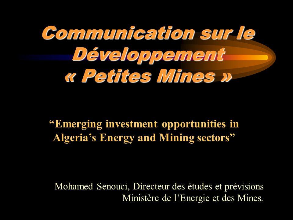 Communication sur le Développement « Petites Mines » Mohamed Senouci, Directeur des études et prévisions Ministère de lEnergie et des Mines. Emerging