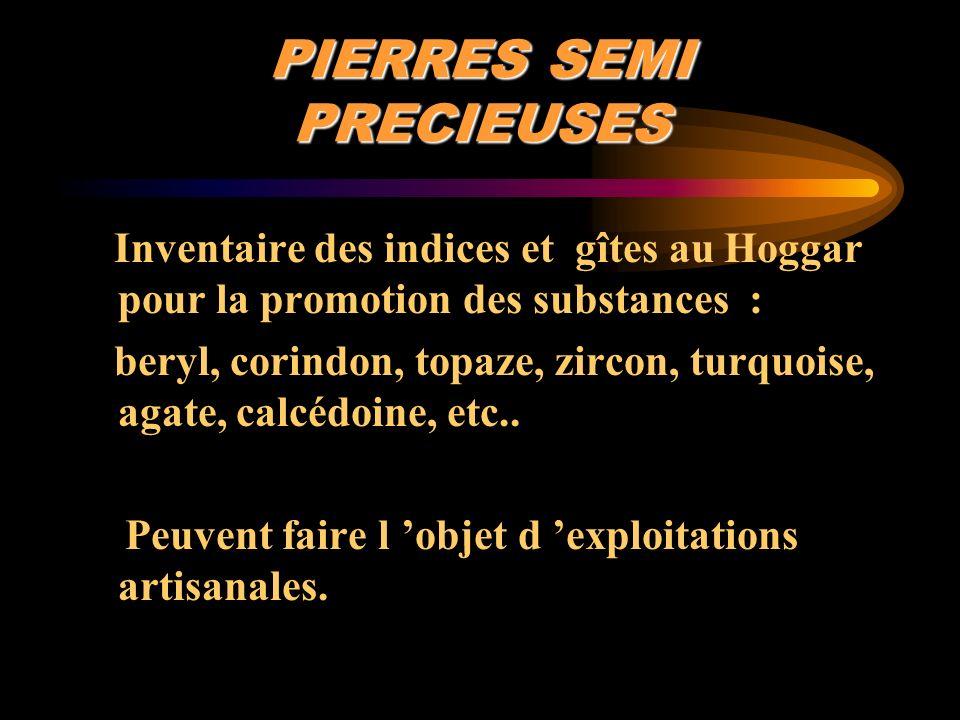 PIERRES SEMI PRECIEUSES Inventaire des indices et gîtes au Hoggar pour la promotion des substances : beryl, corindon, topaze, zircon, turquoise, agate