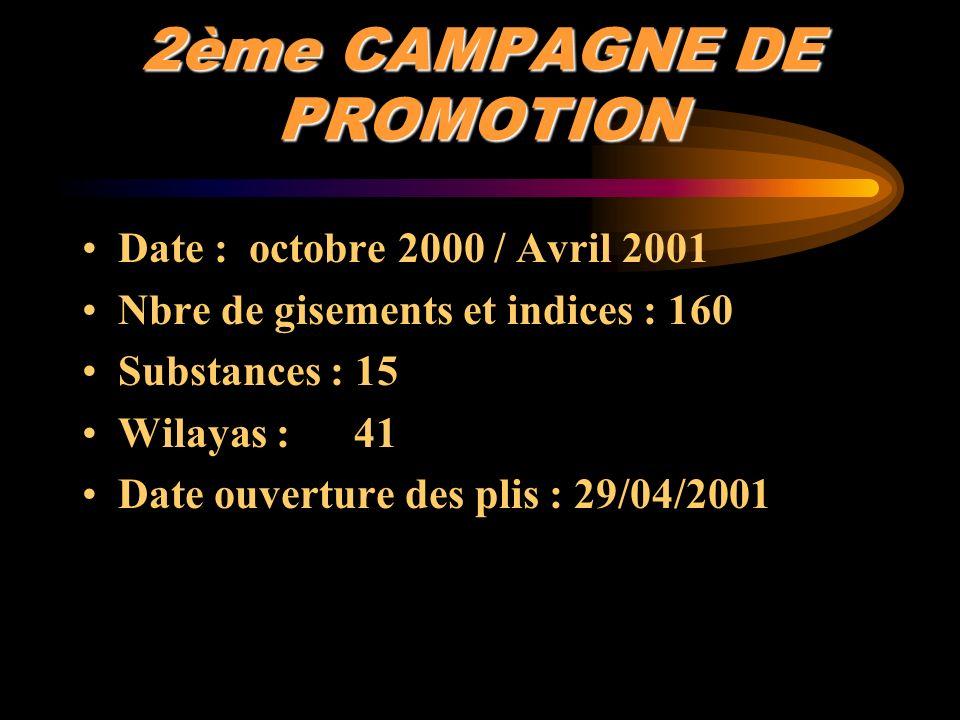 2ème CAMPAGNE DE PROMOTION Date : octobre 2000 / Avril 2001 Nbre de gisements et indices : 160 Substances : 15 Wilayas : 41 Date ouverture des plis :