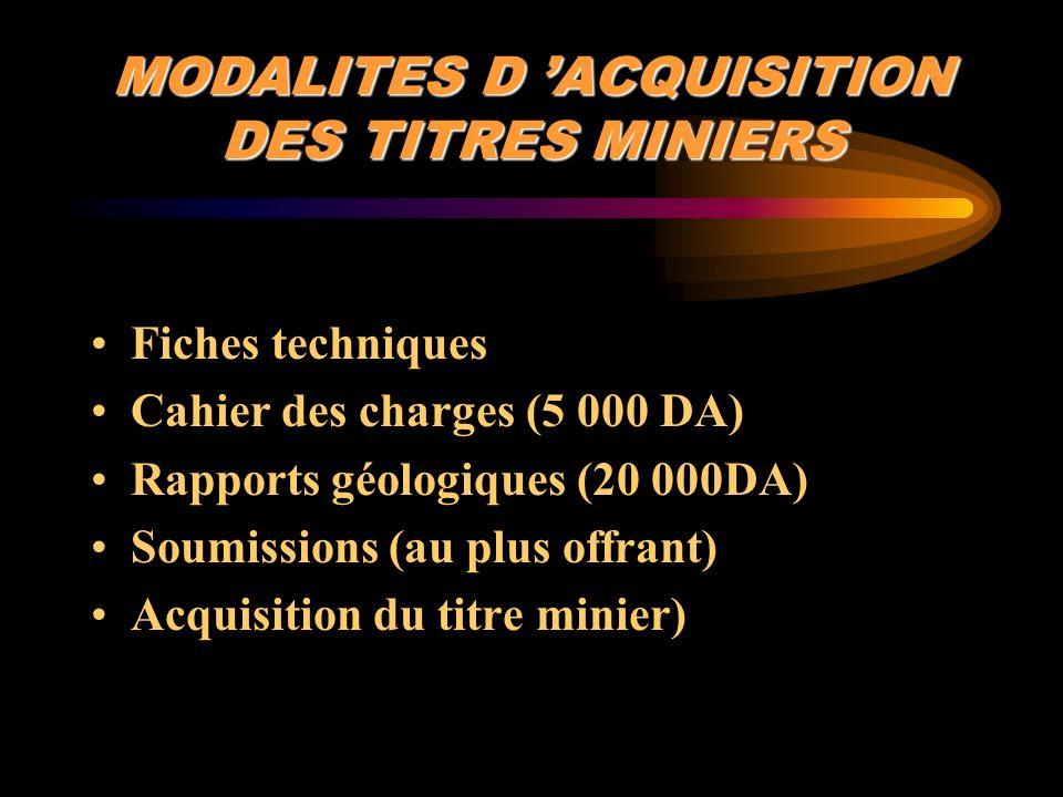 MODALITES D ACQUISITION DES TITRES MINIERS Fiches techniques Cahier des charges (5 000 DA) Rapports géologiques (20 000DA) Soumissions (au plus offran