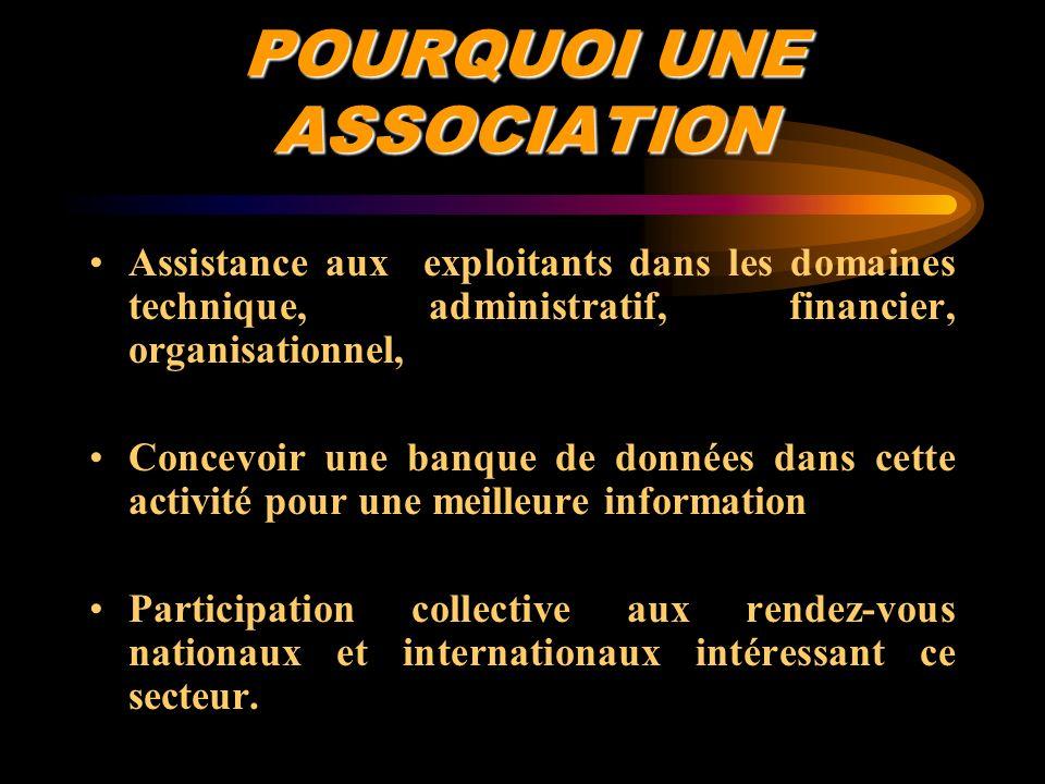 POURQUOI UNE ASSOCIATION Assistance aux exploitants dans les domaines technique, administratif, financier, organisationnel, Concevoir une banque de do