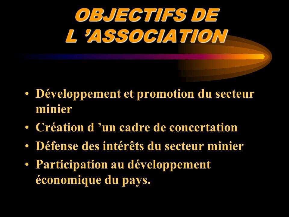 OBJECTIFS DE L ASSOCIATION Développement et promotion du secteur minier Création d un cadre de concertation Défense des intérêts du secteur minier Par