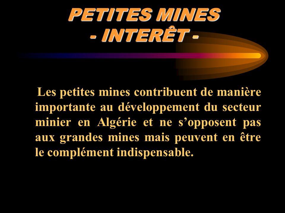 PETITES MINES - INTERÊT - Les petites mines contribuent de manière importante au développement du secteur minier en Algérie et ne sopposent pas aux gr
