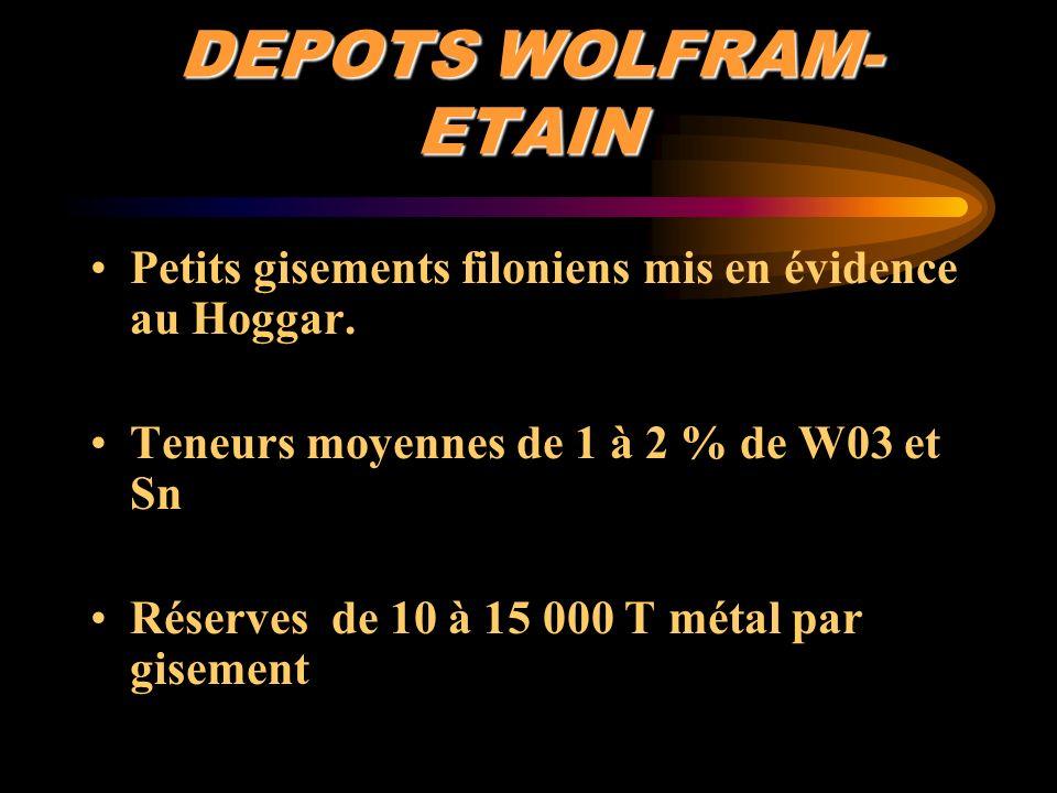 DEPOTS WOLFRAM- ETAIN Petits gisements filoniens mis en évidence au Hoggar. Teneurs moyennes de 1 à 2 % de W03 et Sn Réserves de 10 à 15 000 T métal p