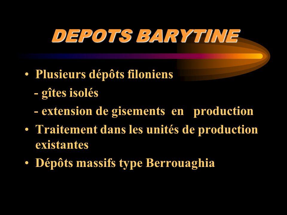 DEPOTS BARYTINE Plusieurs dépôts filoniens - gîtes isolés - extension de gisements en production Traitement dans les unités de production existantes D