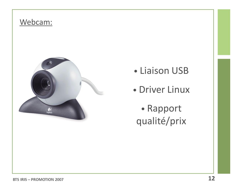 Webcam: Liaison USB Driver Linux Rapport qualité/prix BTS IRIS – PROMOTION 2007 12