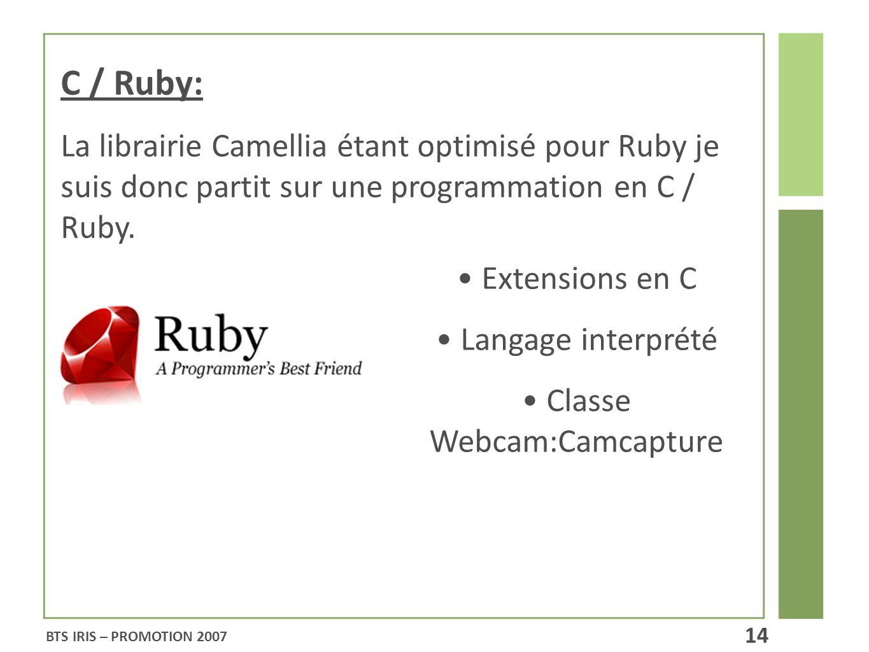 C / Ruby: La librairie Camellia étant optimisé pour Ruby je suis donc partit sur une programmation en C / Ruby.