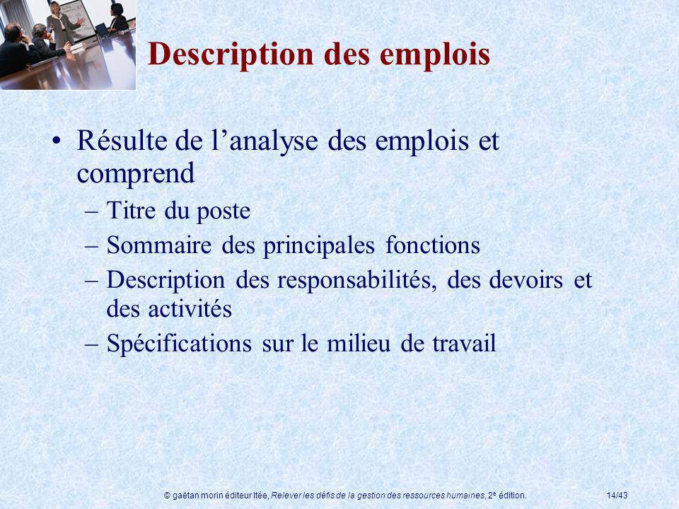 © gaëtan morin éditeur ltée, Relever les défis de la gestion des ressources humaines, 2 e édition.14/43 Description des emplois Résulte de lanalyse de