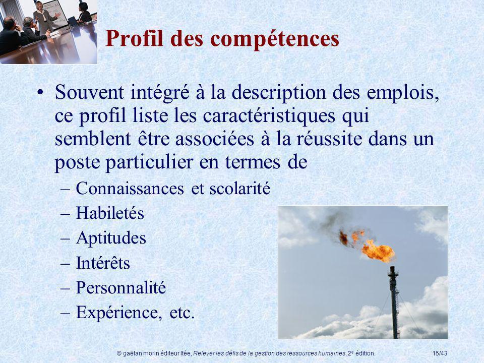 © gaëtan morin éditeur ltée, Relever les défis de la gestion des ressources humaines, 2 e édition.15/43 Profil des compétences Souvent intégré à la de
