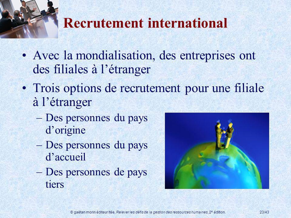 © gaëtan morin éditeur ltée, Relever les défis de la gestion des ressources humaines, 2 e édition.23/43 Recrutement international Avec la mondialisati