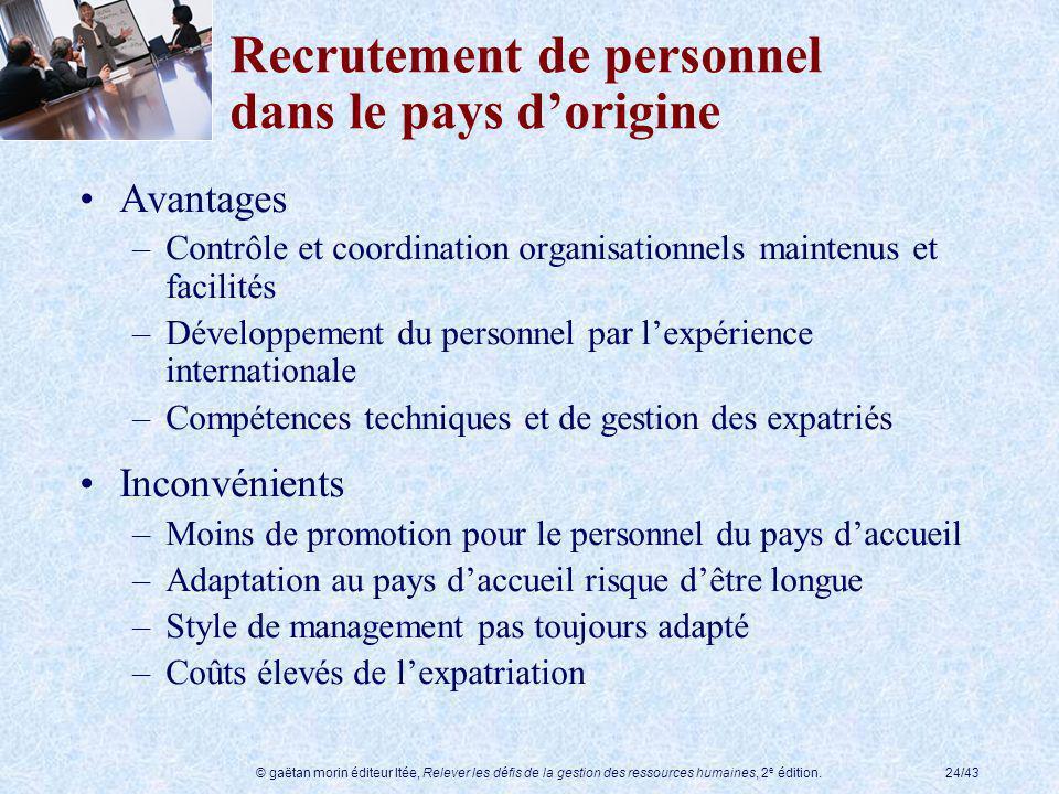 © gaëtan morin éditeur ltée, Relever les défis de la gestion des ressources humaines, 2 e édition.24/43 Recrutement de personnel dans le pays dorigine