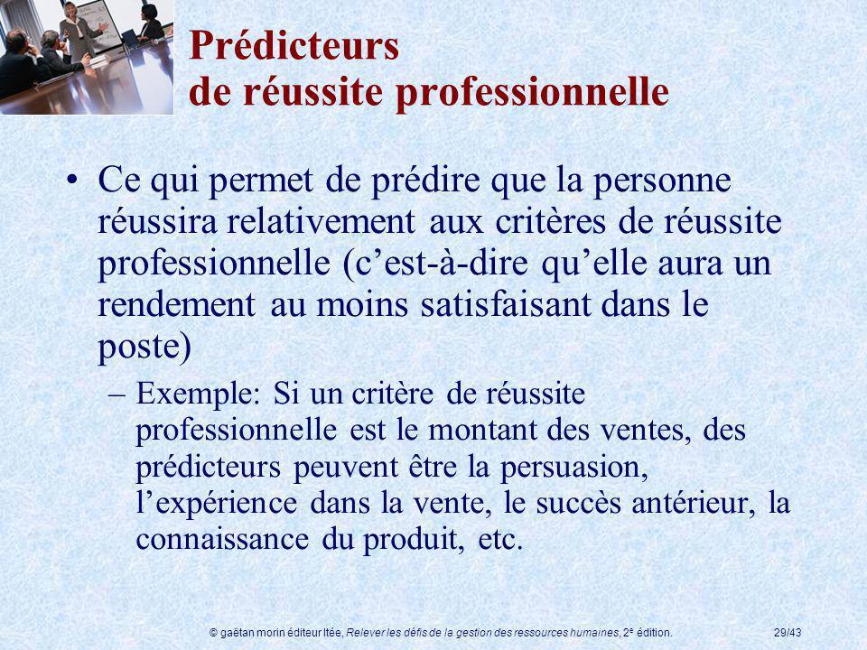 © gaëtan morin éditeur ltée, Relever les défis de la gestion des ressources humaines, 2 e édition.29/43 Prédicteurs de réussite professionnelle Ce qui