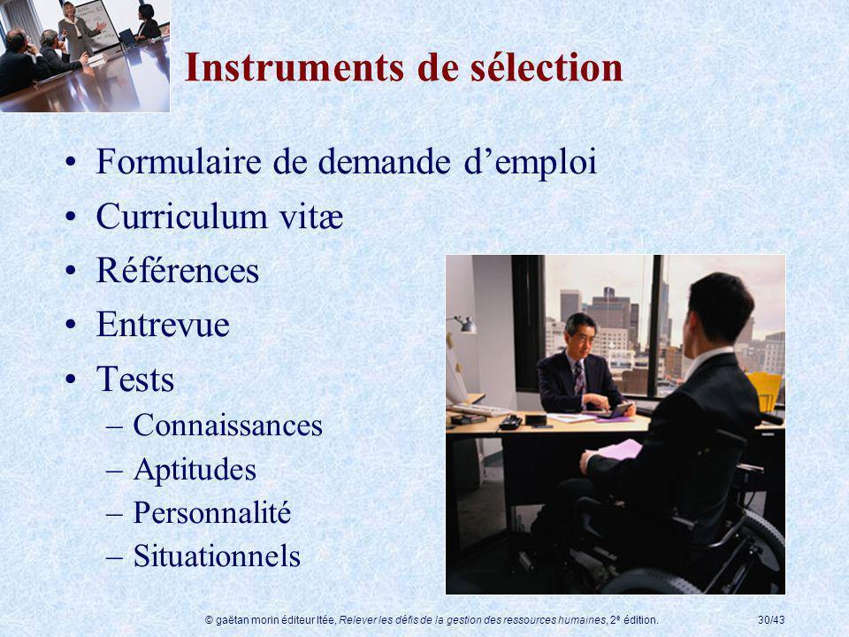 © gaëtan morin éditeur ltée, Relever les défis de la gestion des ressources humaines, 2 e édition.30/43 Instruments de sélection Formulaire de demande