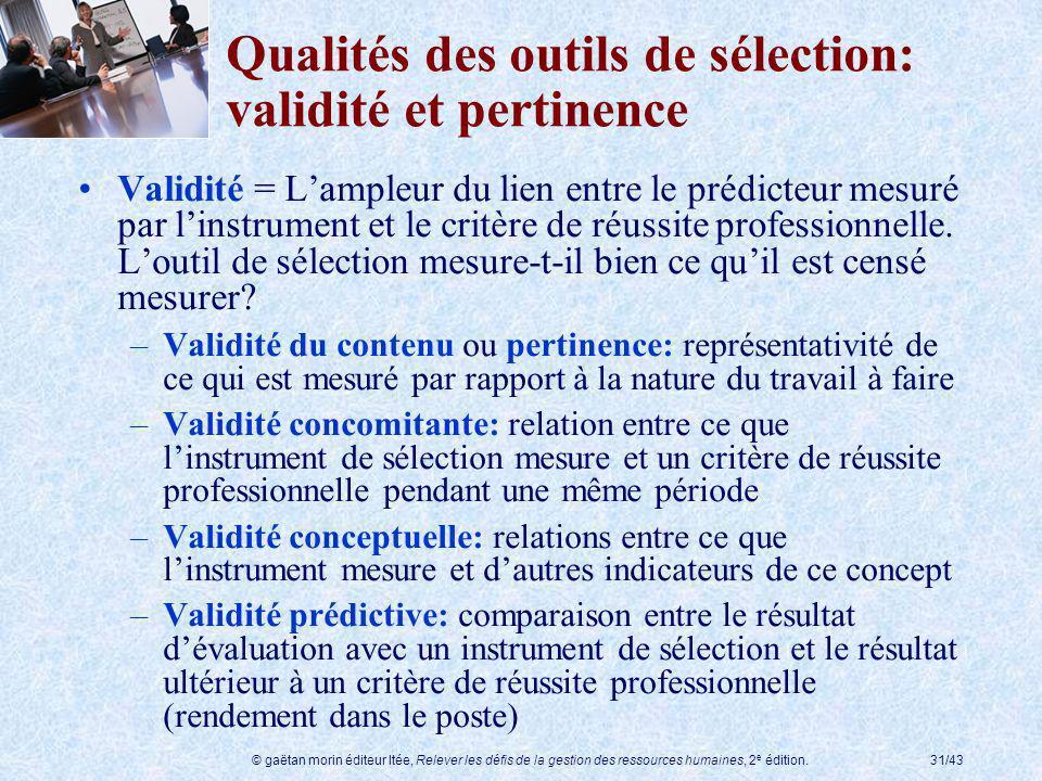 © gaëtan morin éditeur ltée, Relever les défis de la gestion des ressources humaines, 2 e édition.31/43 Qualités des outils de sélection: validité et