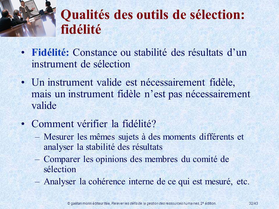© gaëtan morin éditeur ltée, Relever les défis de la gestion des ressources humaines, 2 e édition.32/43 Qualités des outils de sélection: fidélité Fid