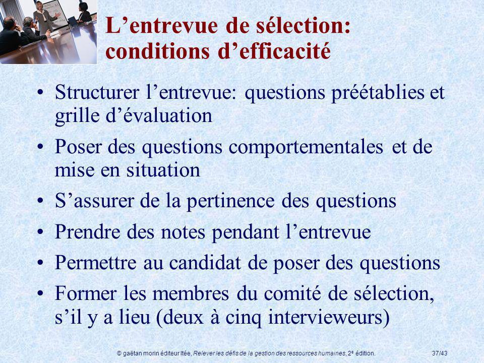 © gaëtan morin éditeur ltée, Relever les défis de la gestion des ressources humaines, 2 e édition.37/43 Lentrevue de sélection: conditions defficacité