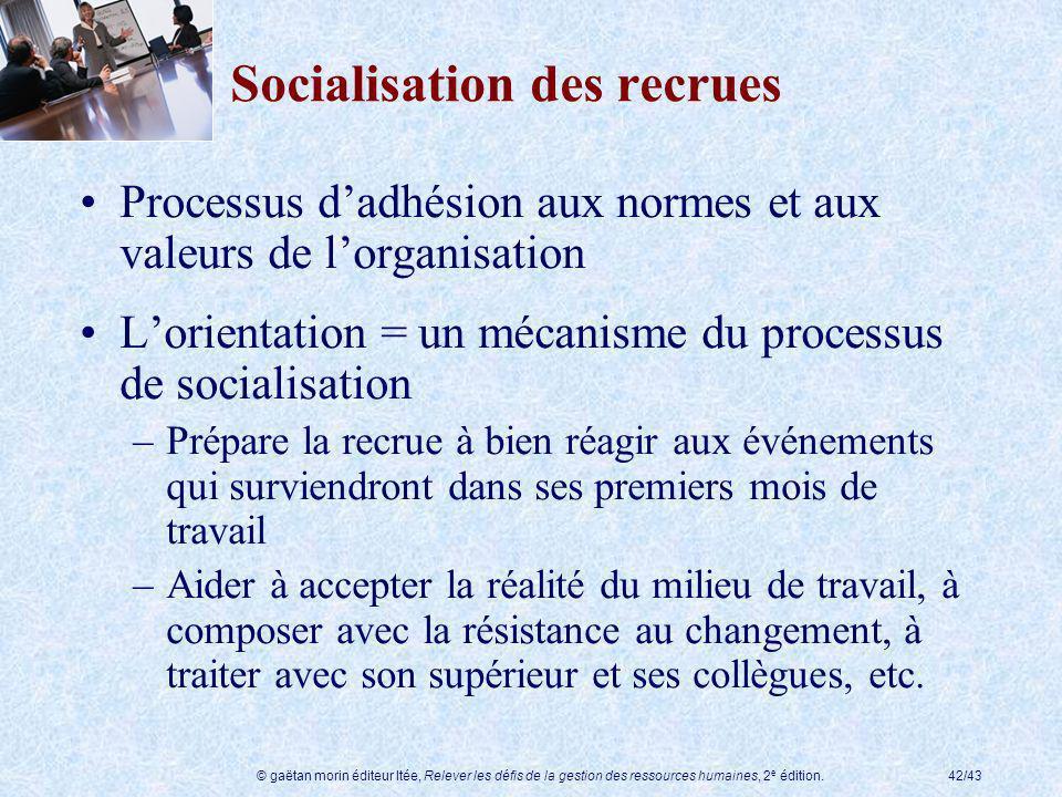 © gaëtan morin éditeur ltée, Relever les défis de la gestion des ressources humaines, 2 e édition.42/43 Socialisation des recrues Processus dadhésion