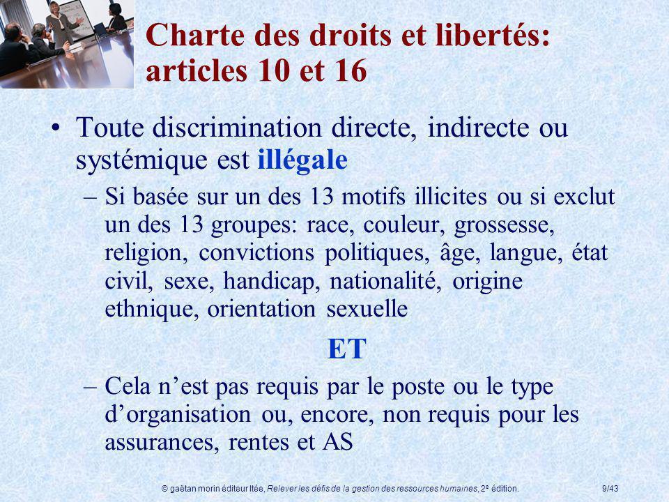 © gaëtan morin éditeur ltée, Relever les défis de la gestion des ressources humaines, 2 e édition.9/43 Charte des droits et libertés: articles 10 et 1