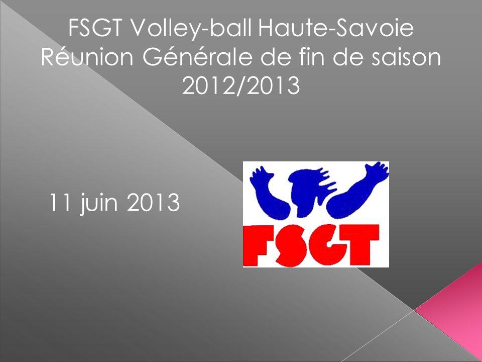 FSGT Volley-ball Haute-Savoie Réunion Générale de fin de saison 2012/2013 11 juin 2013