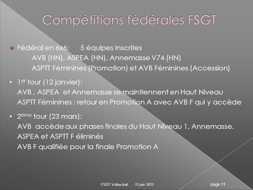 Fédéral en 6x6:5 équipes inscrites AVB (HN), ASPEA (HN), Annemasse V74 (HN) ASPTT Féminines (Promotion) et AVB Féminines (Accession) 1 er tour (12 jan