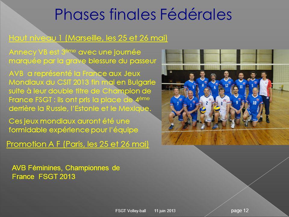 11 juin 2013 FSGT Volley-ball page 12 Phases finales Fédérales Haut niveau 1 (Marseille, les 25 et 26 mai) Annecy VB est 3 ème avec une journée marqué