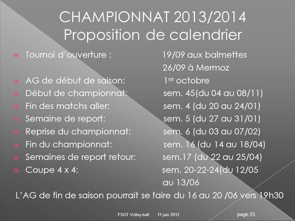 11 juin 2013FSGT Volley-ball page 25 Tournoi douverture : 19/09 aux balmettes 26/09 à Mermoz AG de début de saison: 1 er octobre Début de championnat: