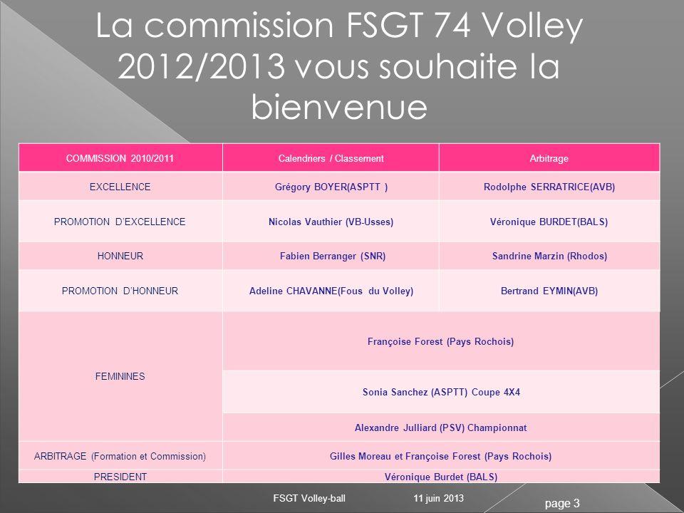 20 clubs (20) 48 équipes engagées(46) Championnat avec 5 niveaux 4 niveaux mixtes à 38 équipes (2 divisions à 9 équipes et 2 divisions à 10 équipes) 1 niveau féminin de 10 équipes avec 4 équipes de la FFVB( pour la dernière saison) 11 juin 2013 FSGT Volley-ball page 14 CHAMPIONNAT 2012/2013 Effectifs