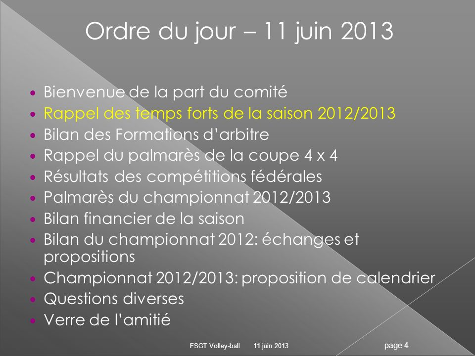 Tournoi douverture : 20 et 28 Septembre AG des clubs :2 Octobre Début du championnat :15 octobre Formations darbitrage :les 10, 25 et 29 octobre au siège FSGT Fin des matchs aller :7 janvier Début des matchs retour : 21 janvier Phases finales Fédéral: 1er tour Fédéral :12 et 13 janvier 2ème tour Fédéral :23 et 24 mars - Haut Niveau 1 M– AVB 24 et 25 mai à Marseille – Promo A F- AVB24 et 25 mai à Paris Fin du championnat mixte:20 avril 11 juin 2013 FSGT Volley-ball page 5 Les temps forts de la saison 2012/2013